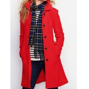 JCrew Classic Wool Lady Day Red Coat Size 10